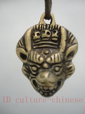 Collection Old China Tibet Copper Handmade Auspicious Beast Head Pendant Amulet