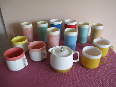 Vtg Insulated Cup Tumbler Lot Of 14, Therm O Ware, David Douglas, Eco Products