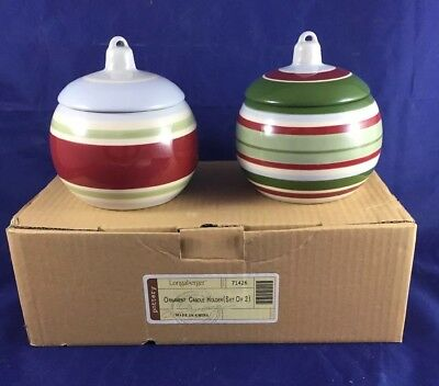 Longaberger Pottery Red Green Blue Striped Ornament Candle Holders Set Of 2