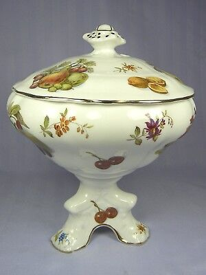 HAMMERSLEY Lidded Candy Jar Dish NEW FRUIT Nuts Fruits Flowers Pedestal