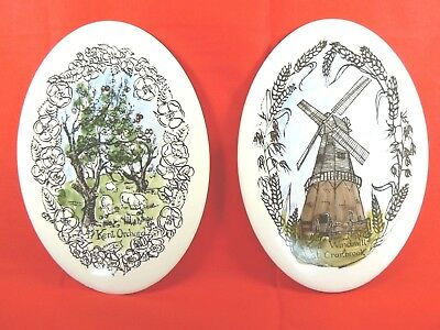H&R Johnson Ceramic Tiles Oval Kent Orchard Kent Windmill at Cranbrook Set of 2