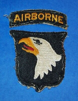 ORIGINAL POST WW2 101st AIRBORNE DIVISION TYPE 10 PATCH + TAB, OFF UNIFORM