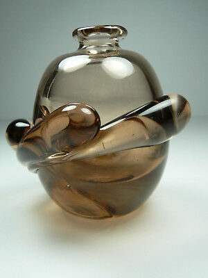 Smoked Hand Blown Art Glass Perfume Bottle SIGNED No Stopper Vintage