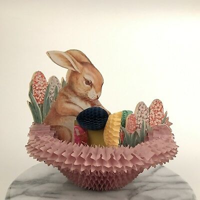 "Antique Large Easter Honeycomb Pop Up Bunny Rabbit in Nest with Eggs 8 3/4"" H"
