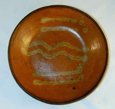 Beautiful & Rare Antique 1800s Lead Glazed Slip Decorated Redware Plate PA 1026
