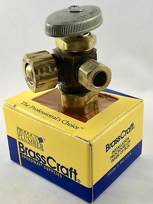 """Brass Craft Dual Outlet Stop Valve CR3901L R1 Custodia/30 Ct. 1/2"""" In/Out 3/8"""
