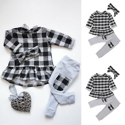 Casual Toddler Baby Girls Chiffon Tops T-shirt+Trousers Pants Clothes Outfits UK