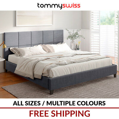 TOMMY SWISS: KING QUEEN DOUBLE SIZE Fabric Bed Frame Padded Grey Charcoal Beige