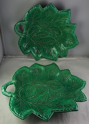 Pair Of Rare Brameld Majolica Green Leaf Plates Early 19th Century Earthenware