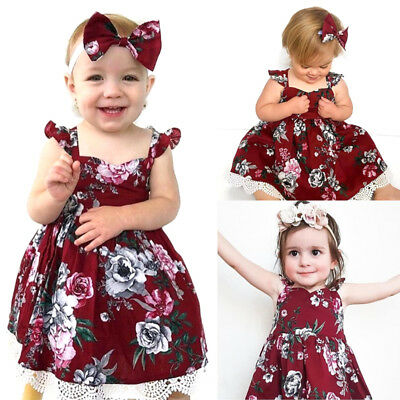 Christmas Toddler Kids Baby Girls Lace Floral Princess Party Dress Clothes AU