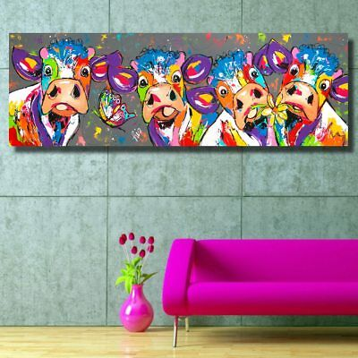 Abstract Cow Wall Art Canvas Painting Colourful Animal Picture Poster Home Decor