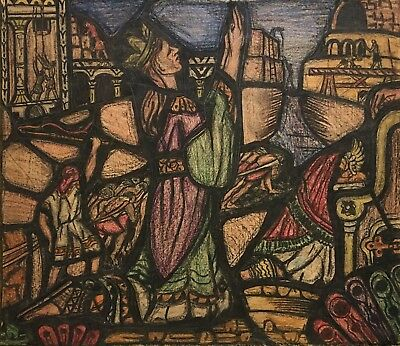 OLIVER SMITH 20th c. American Artist Drawing STUDY FOR STAINED GLASS WINDOW