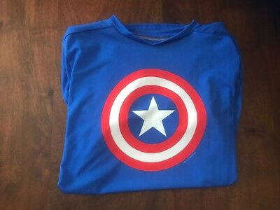 Under Armour YXL Marvel captain america short sleeve heatgear fitted shirt
