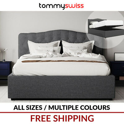 Tommy Swiss: New King, Queen & Double Curved Gas Lift Storage Fabric Bed Frame