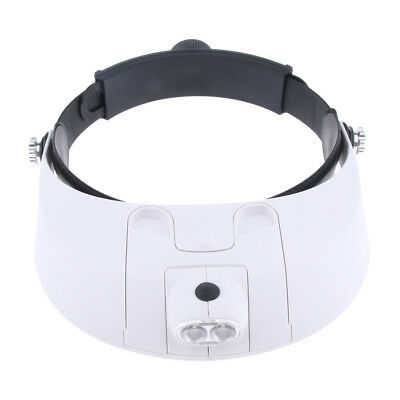 Professional LED Illuminated Headband Magnifier Visor w/ 5 Replaceable Lens