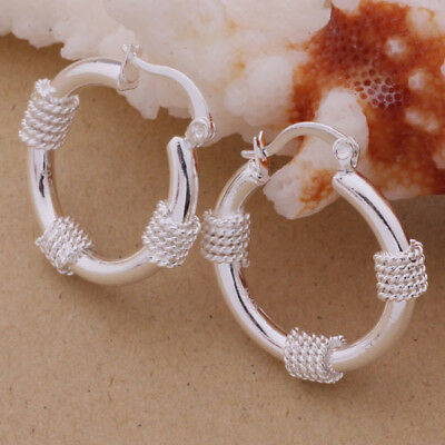 Womens 925 Sterling Silver Elegant Round Hoop Vogue Pierced Earrings #E282