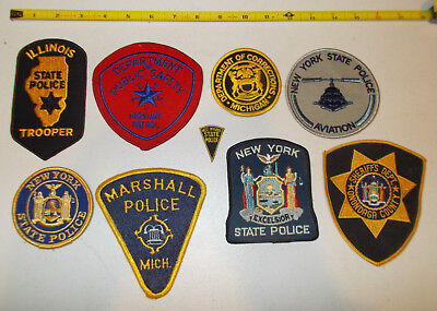 Lot Of 9 Different Police Patches  New/mint/vg Condition. Il, Tx, Mi, Ny,