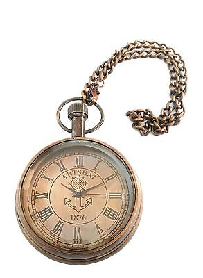 Pocket Watch With Chain Antique Look Brass Brown Anchor Design Xmas Decor Gift