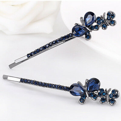 Rhinestone Crystal Bow Hair Clip Hairpin Barrette Butterfly Ladies Gift