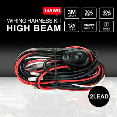 DC 12V 30A Wiring Harness kit Loom 14AWG Wire For LED LIGHT BAR Driving Lights