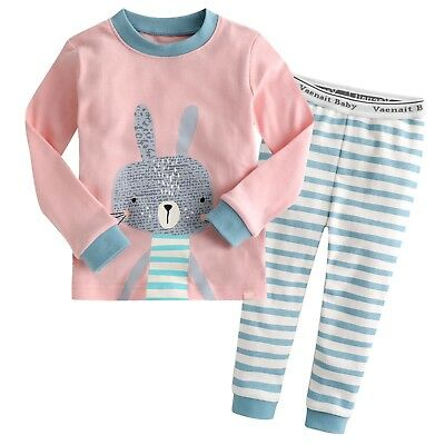 "Vaenait Baby Toddler Kids Girls Clothes Pajama Sleepwear Set ""Pink Bunny"" 12M-7T"