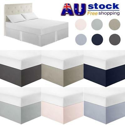 AU Plain Bed Skirt Fitted Valance Sheet Polyester Bed Cover Queen King Full Twin