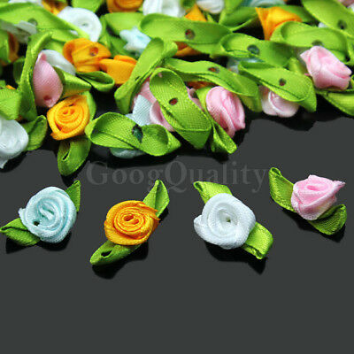 100× Exquisite Satin Rose Flower Bow Ribbon Sewing Wedding Appliques Decoration