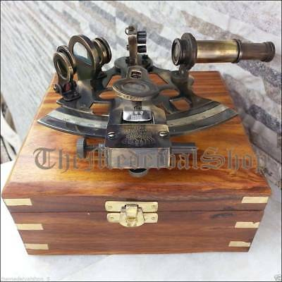 German Marine Sextant w/ Wooden Box Collectible Nautical Antique Working sextant