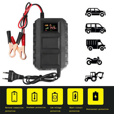 Car Battery Lead Acid Charger Automobile Motorcycle 12V 20A Intelligent LCD US
