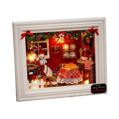 Mini DIY Wooden Doll House Miniature Kit Christmas Photo Frame Handcraft Gifts