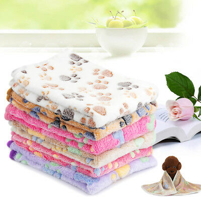 Warm Pet Mat Small Large Paw Print Cat Dog Puppy Fleece Soft Blanket Car Cushion