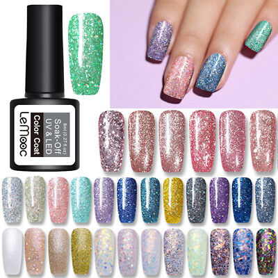 LEMOOC 8ml Nagel Gellack Glitzern Pailletten Soak Off Nail Art UV Gel Polish