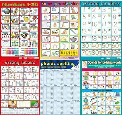 Alphabet / Letters / Phonics / Numbers - Early Learning poster - set of 6 Charts