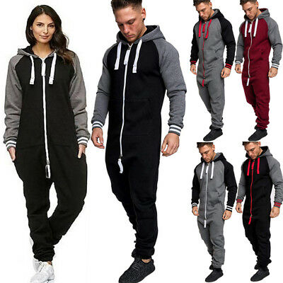 dd8a700b5ff New Men Women Ladies Adult Onesi0 Hooded Playsuit Jumpsuit All In One  Tracksuit