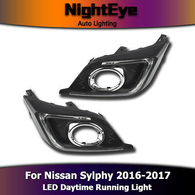 2 PCS LED DRL Daytime Running Light White Lamp Fit For Nissan Sylphy 2016-2017