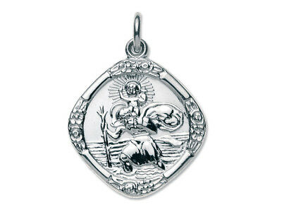 925 Sterling Silver St.christopher Revesible Pendant For Jewellery Making S8-2