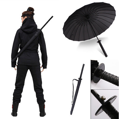 Japanese Katana Ninja Handle Umbrella Black Windproof Warrior Men Umbrellas