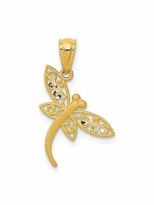 14k Yellow Gold Polished Dragonfly Charm Pendant - 13x21mm 0.26 Grams