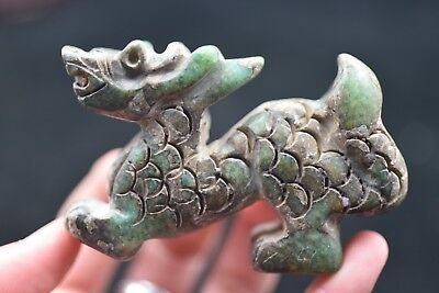 Chinese Masters Hand carved beast old jade Amulet Pendant    045