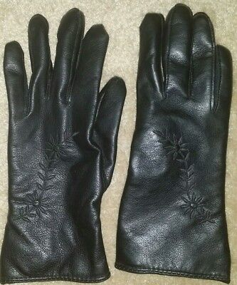 Ladies Vintage Finale Black Faux Leather Gloves with Lining》Size 8