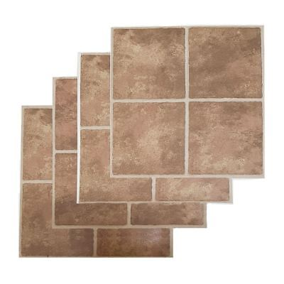 Floor Tiles Self Adhesive Vinyl Flooring Kitchen Bathroom Brown Stone Effect