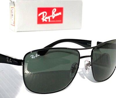 e478ed232a NEW  Ray Ban AVIATOR Squared Black 57mm w Green Grey lens Sunglass RB 3533  02