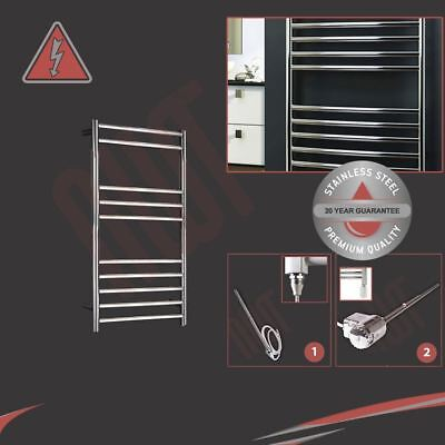 350mm(w) x 800mm(h) Electric 150W Polished Stainless Steel Towel Rail Pre-filled