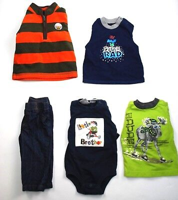 Lot Of 5 Toddler Boys Clothes Size 6-9 Months 2 Shirts 1 Jeans 1 One Piece