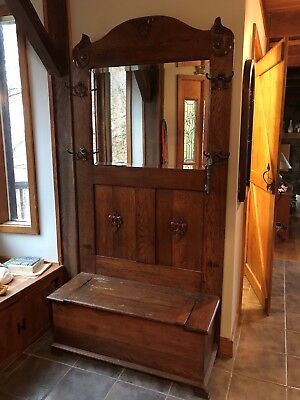 antique hall tree storage bench