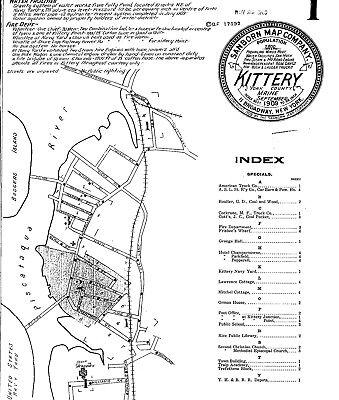 Kittery, ME, Maine ~Sanborn Map© sheets~12 maps 1904 to 1919 on a CD