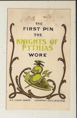 Knights of Pythias - The FIRST PIN - A.H. Lodge-Series - cr 1907. C. Eckstone