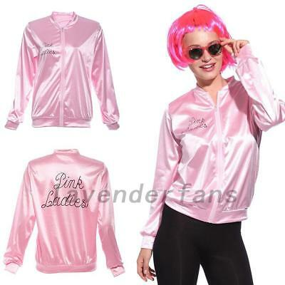 Women Satin JACKET Fashion Grease Pink Ladies Jacket Party Fancy Dress S-2XL AU