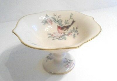Lenox Serenade Compote Candy Dish with Bird and 24K Gold Trim