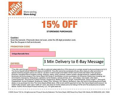 ONE 1x Home Depot 15% Off-1coupon- In Store Only -saving 200$ max-Fast---!!---